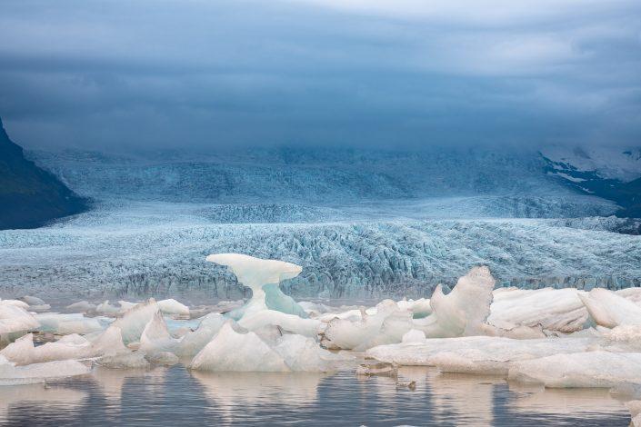 Eisberge vor Gletscher, Fjallsarlon, Island