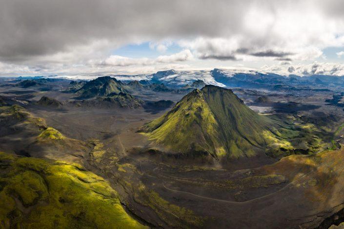 Luftaufnahme im Hochland, Island