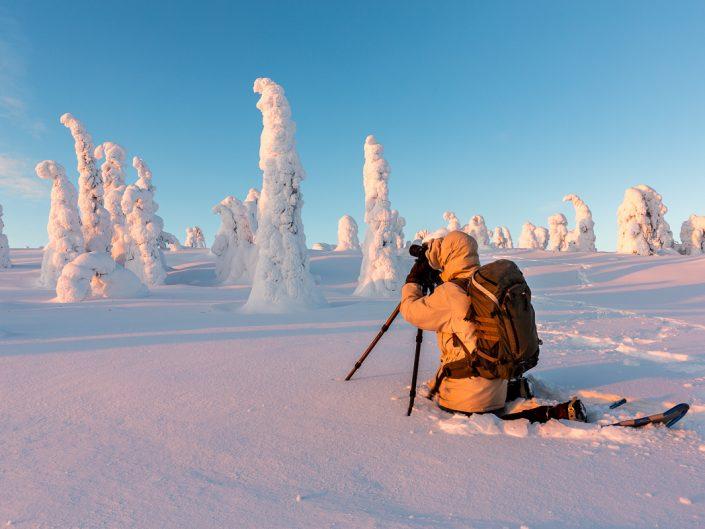 Landschaftsfotograf beim fotografieren der verschneiten Bäume, Riisitunturi Nationalpark, Finnland