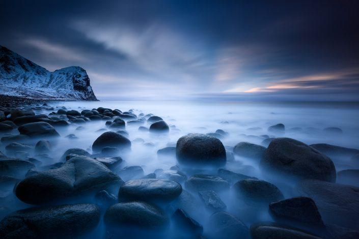 Langzeitbelichtung am Unstad Beach, Lofoten, Norwegen