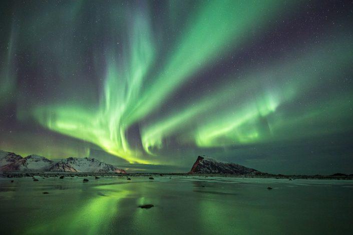 Nordlicht über zugefrorenem Fjord auf den Lofoten