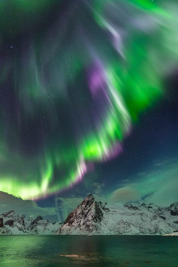 Violettes Nordlicht über Berg Olstinden, Hamnoy, Lofoten