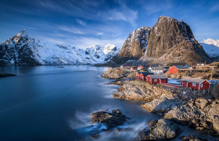 Rote Rorbuer Hütten von Hamnoy, Reine, Lofoten