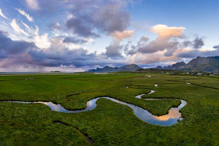 Luftaufnahme von Fredvang, Lofoten